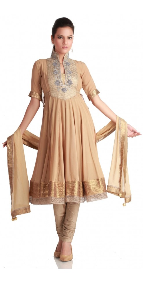 Collared Sandy Brown Flared Kurta Churidar - SUITS - WOMEN'S WEAR