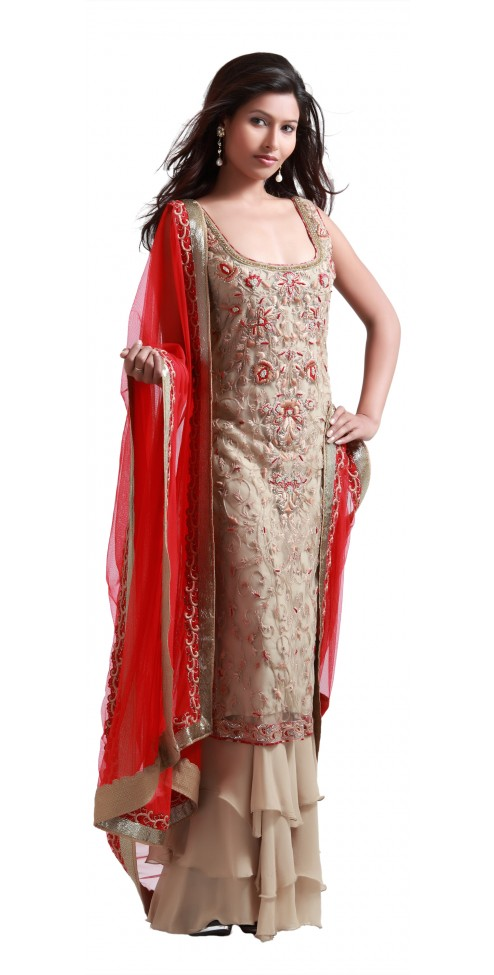 Fashionable Indian Gold suit with sharara online @ Angarkh