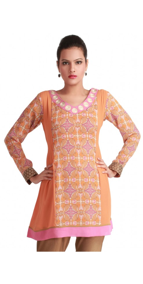 ORANGE PINK V NECK PRINTED GEORGETTE INDIAN FASHION TUNICS