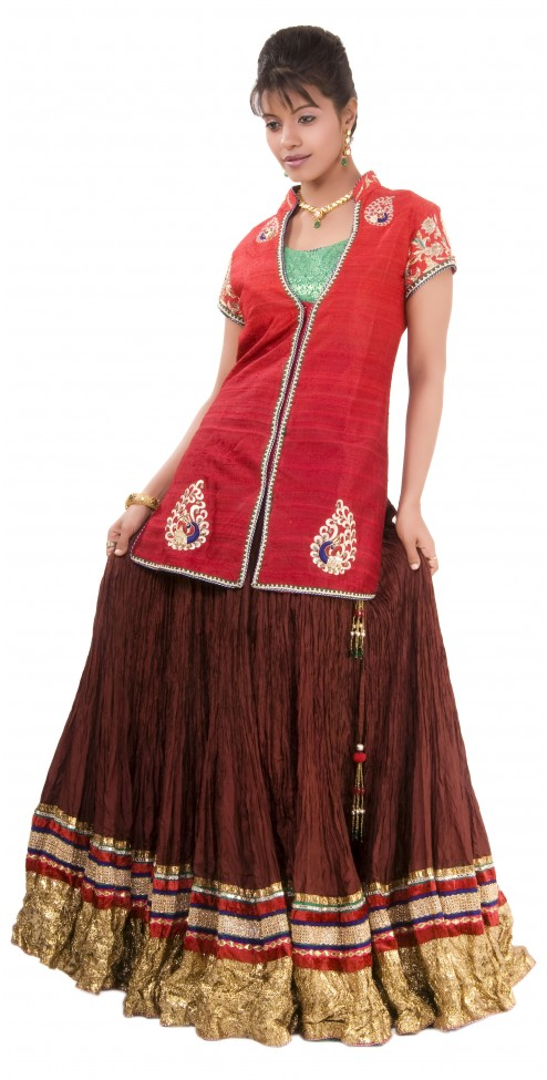Indian Wedding Lehenga online- WOMEN'S WEAR (Red & Green)