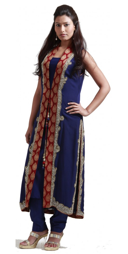 Dark blue georgette cape Indian designer suits for women