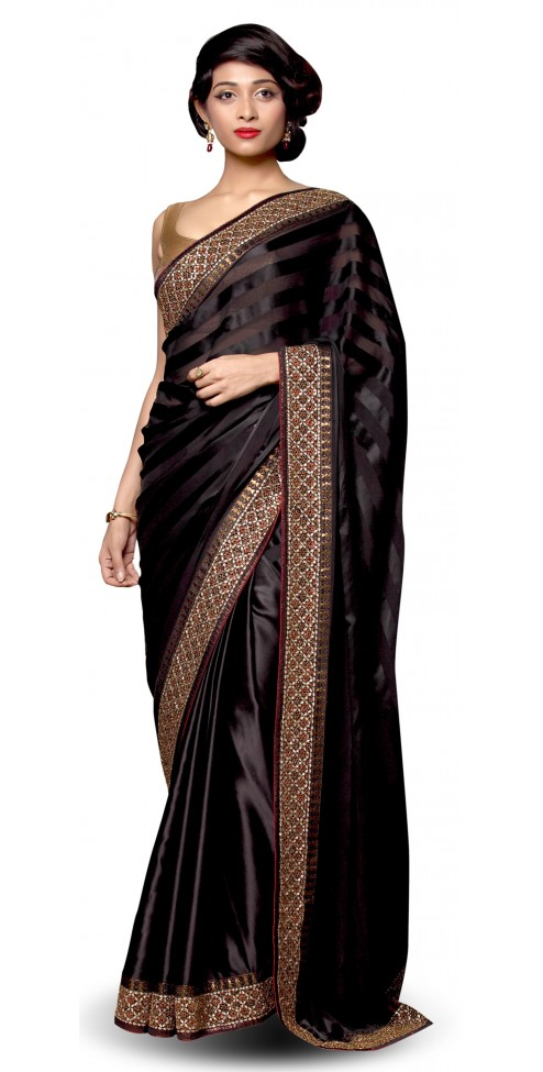 Indian Designer Black Satin Saree + (Pranay Baidya) Collection @ Angarkh