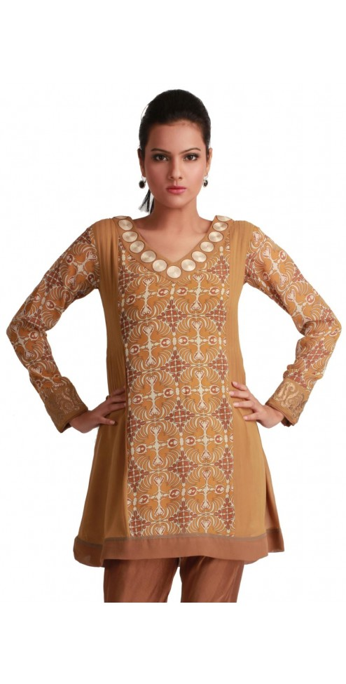 Fashionable V-Neck Printed Goergette Indian Designer Tunics