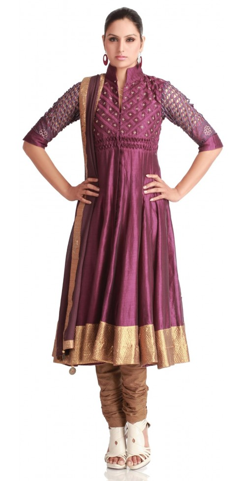 WIne Jacket Styled Indian Designer Churidar Kurtas Suits for women