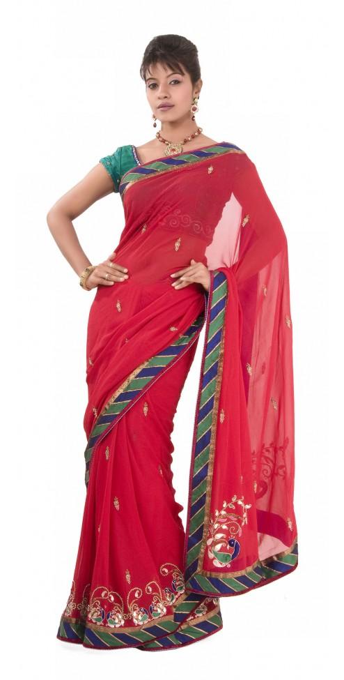 Indian Designer Hot Pink Saree - Women's Wear