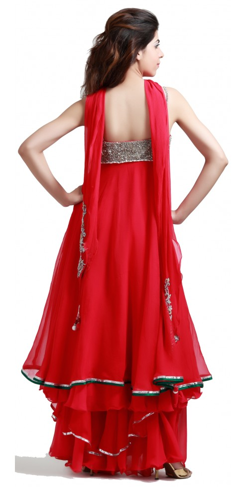 New Indian Designer Rose Chiffon Shararas - SUITS - WOMEN'S WEAR Online
