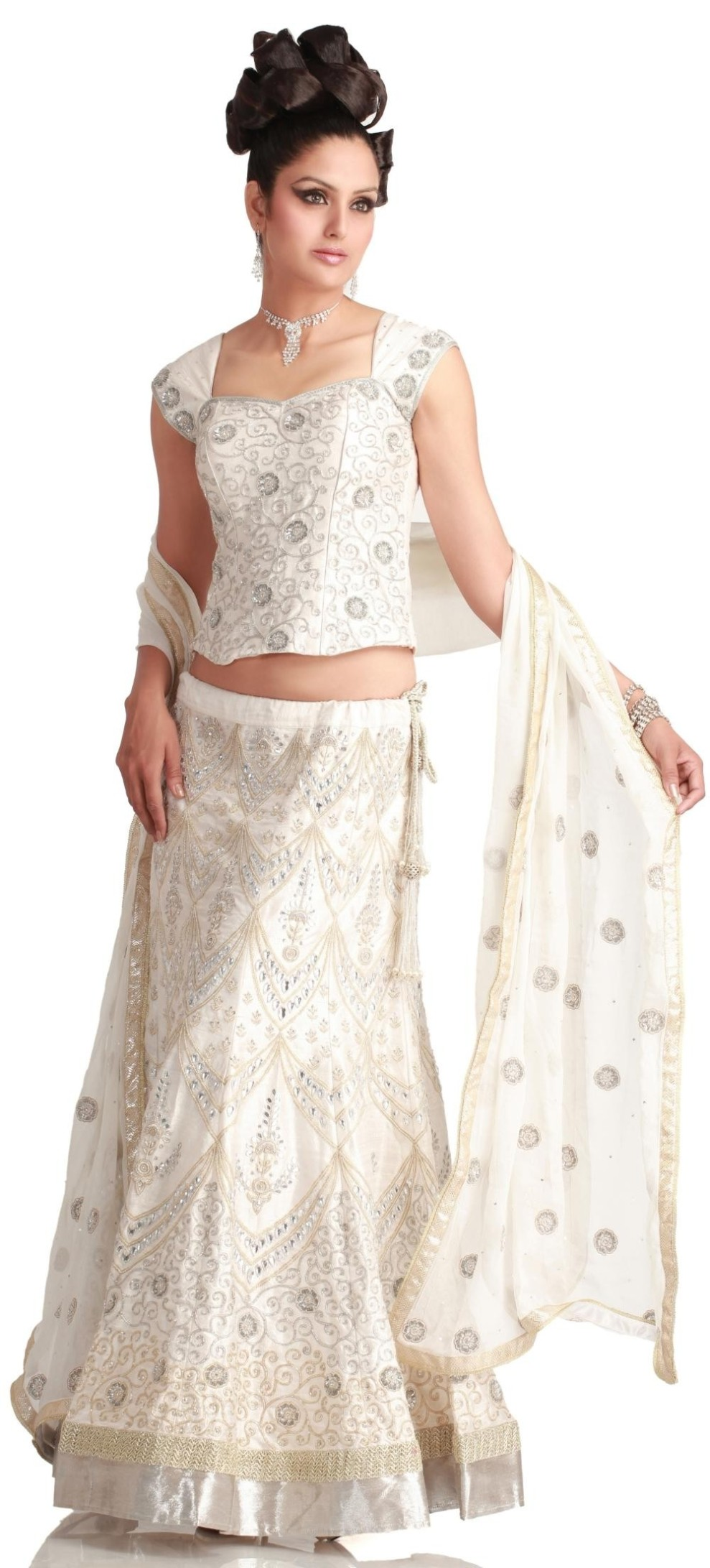 Monsoon Wedding Collection -Crystal white lehenga choli dupatta Online