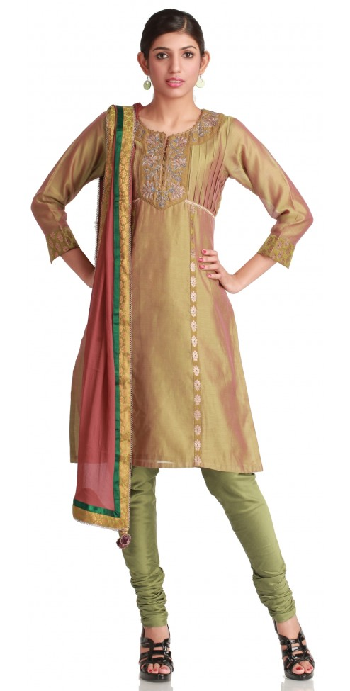Indian Designer Dresses- Old Gold Tucked  Chanderi Silk Kurta