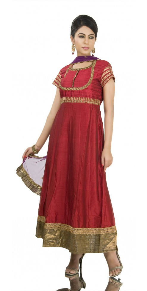 Red Zardozi Yoke Indian Designer Suits Online