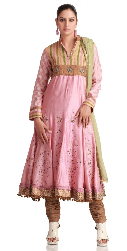 Buy new Designer Pink Chanderi Silk Kurta Churidar Online @ Angarkh.com