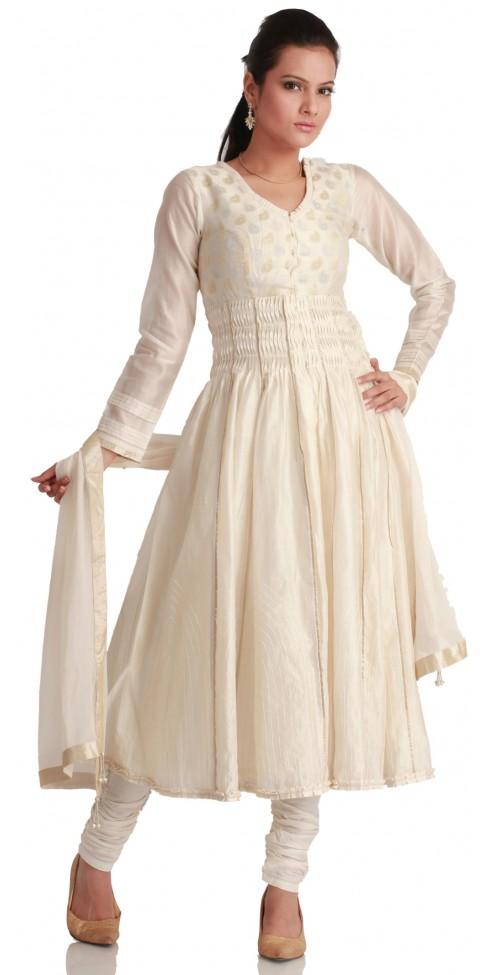 Chanderi Silk White Suit buy online @ Angarkh.com