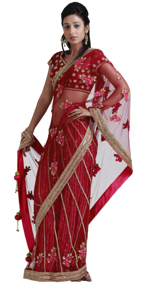 Buy Online Indian Designer Red Stitched Net Saree