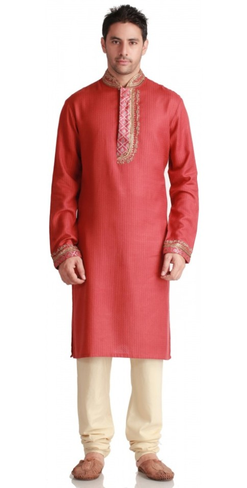 Designer Royal Red Silk Kurtas for Men Online