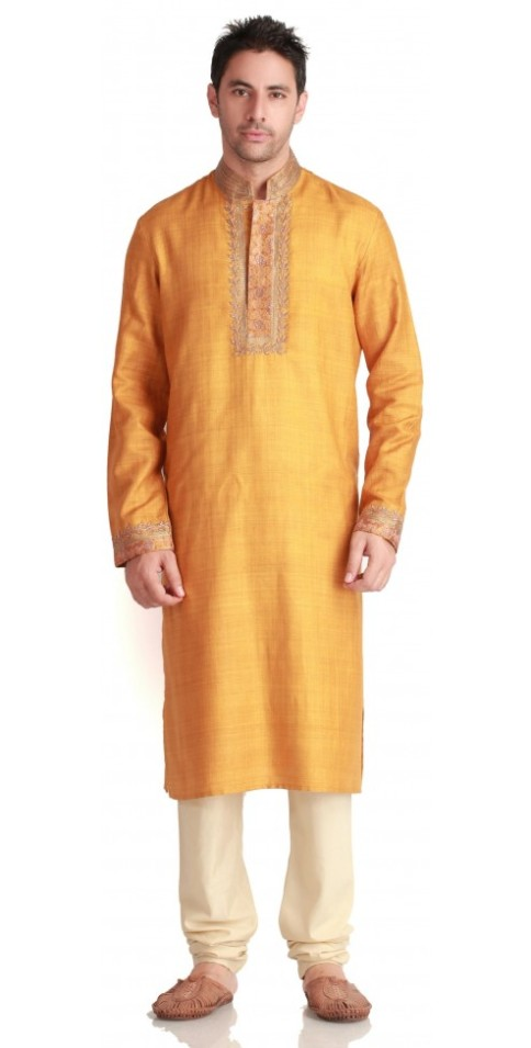 Stylish & Fashionable Indian Designer Silk Gold Kurtas for Men