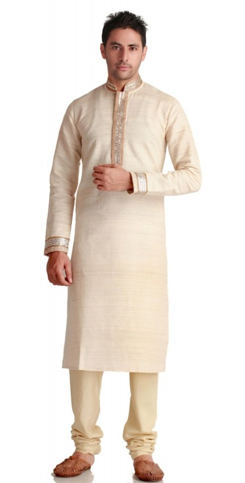 Indian Ethnic Wear for men - Ivory Silk Kurta