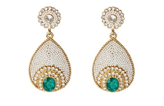 Indian Designer Pearl Studded Emerald Earrings On Sale