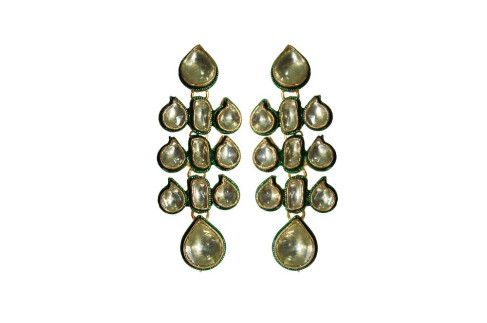 Buy Online New Arrival Golden Love Kundan Earrings @ Angarkh