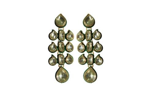Buy Online New Arrival Golden Love Kundan Earrings @ Angarkh