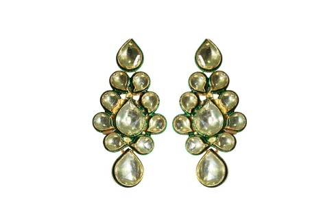Golden Dream Designer Kundan Earrings On Sale