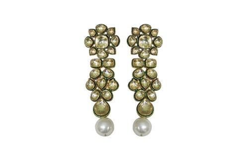 Beautiful Golden Paradise Kundan Earrings on Sale