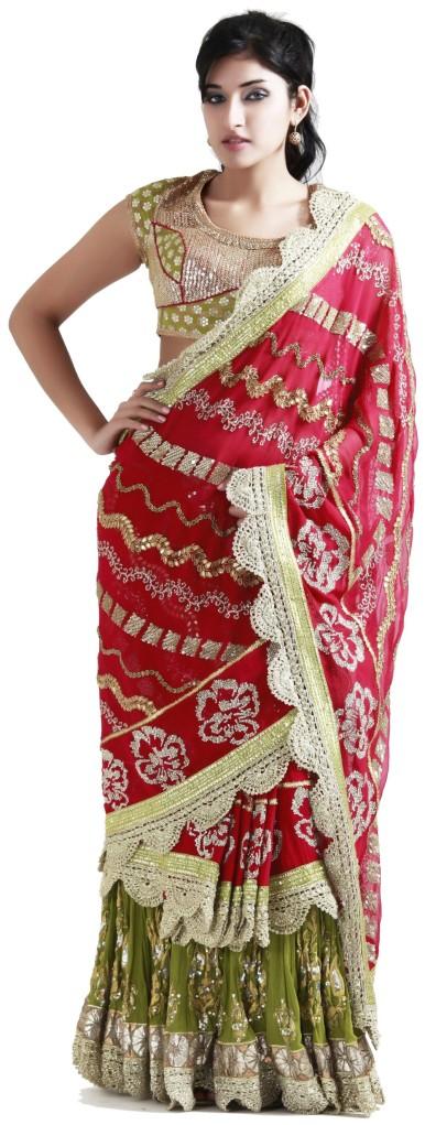 Buy Designer Pink Georgette Stitched Saree Online @ Angarkh