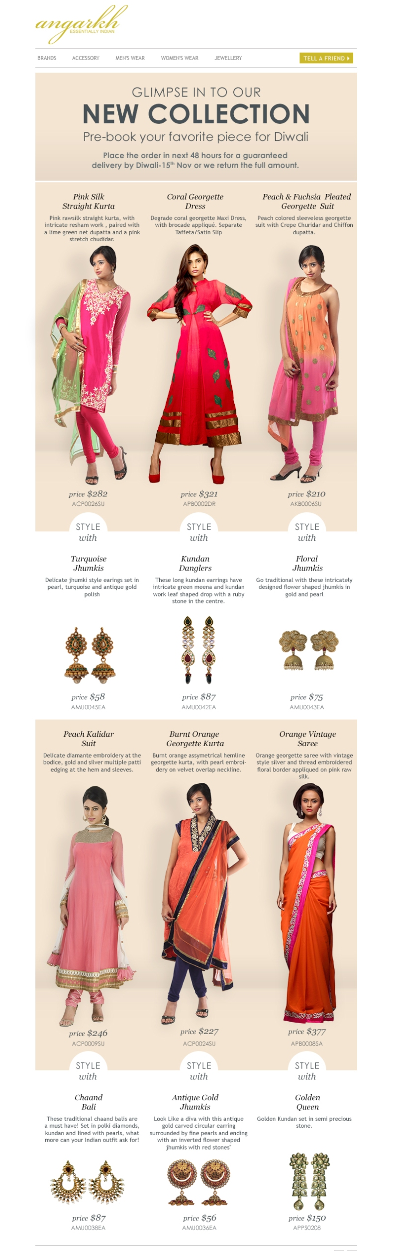Diwali Special - Indian Designer Wear Collection @ Angarkh